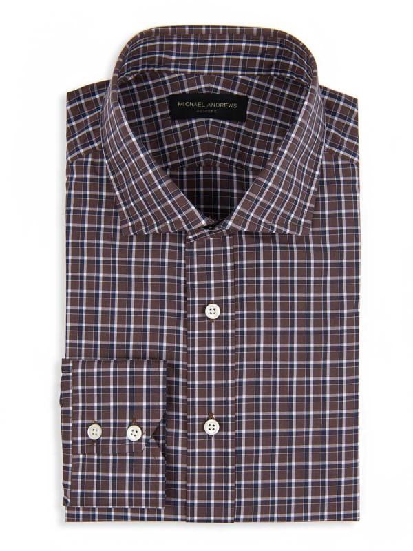 Brown & Navy Overlay Check Spread Collar Shirt