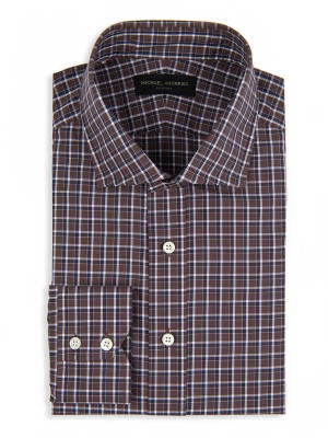 Brown & Navy Overlay Check Spread Collar Shirt