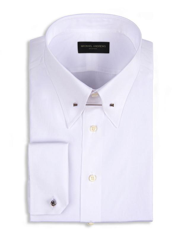 White Poplin Eyelet Collar Shirt