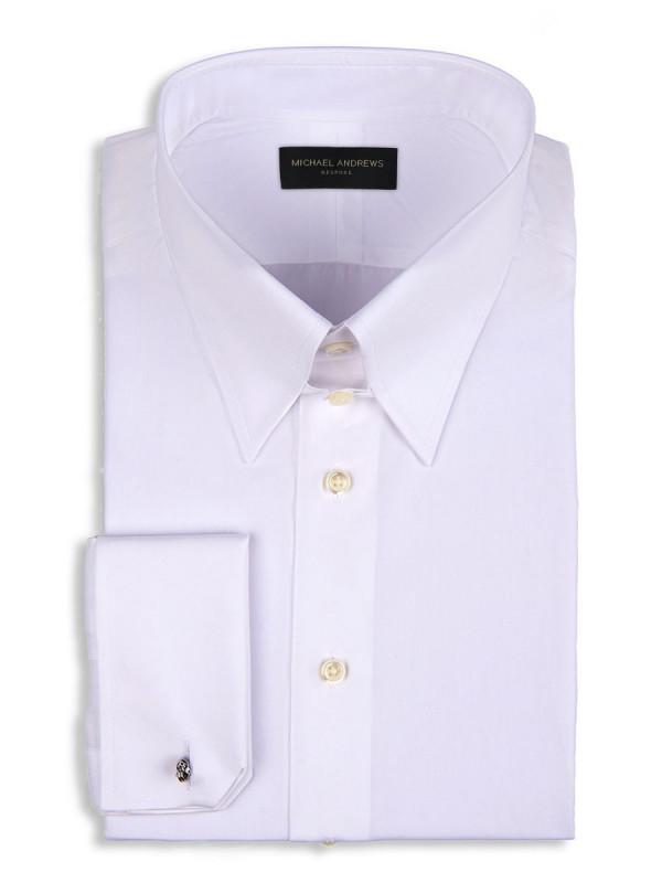 White Poplin Tab Collar Shirt