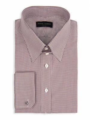Brown Textured Micro Gingham Tab Collar Shirt