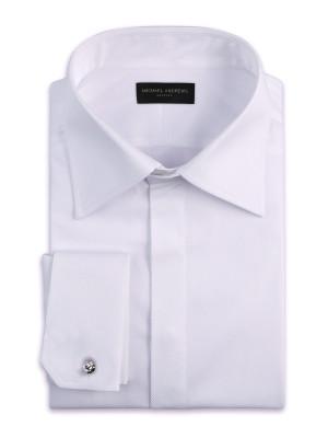 White Pique Hidden Placket Classic Collar Shirt
