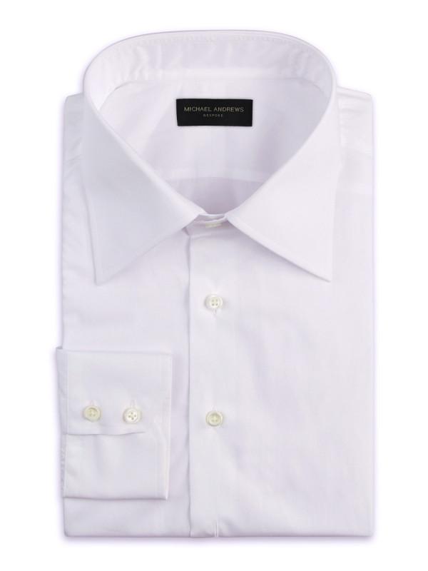White Poplin Italian Collar Shirt