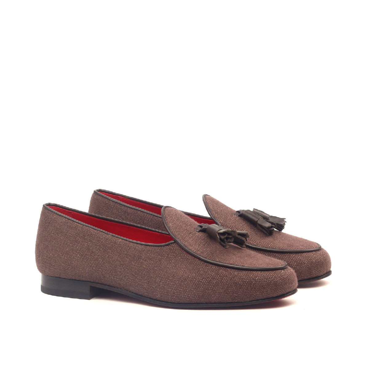 Brown Linen Belgian Slipper