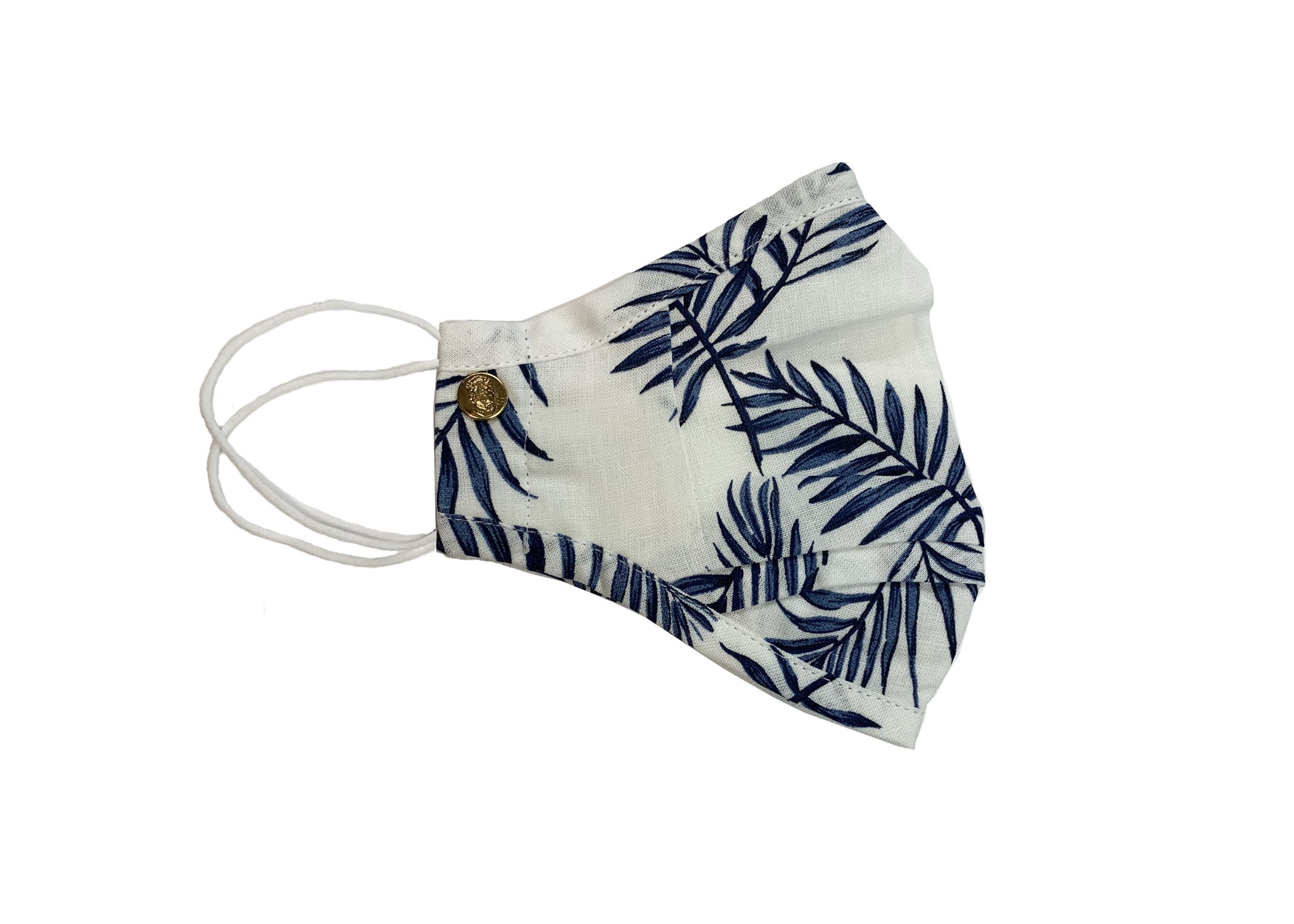 Navy Palm Leaves Mask