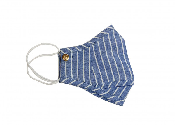 Blue Linen Chalk Stripe Mask