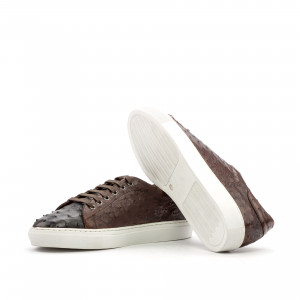 Brown Two-Tone Ostrich Trainer