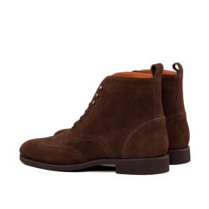 Dark Brown Suede Brogue Boot