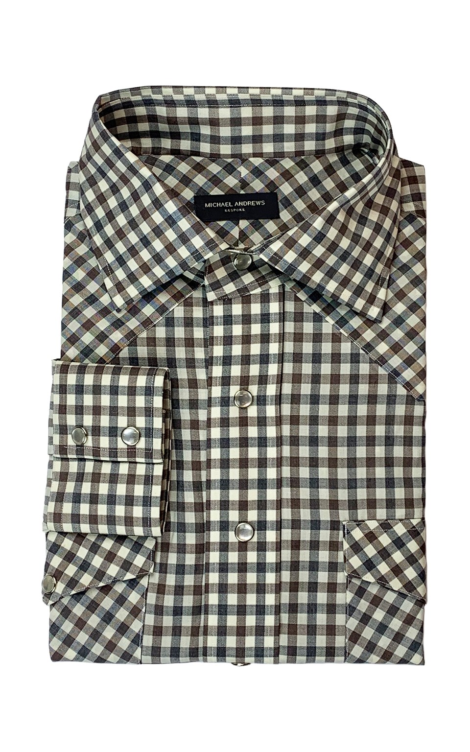 Grey/Brown Gingham Merino Wool Western Shirt