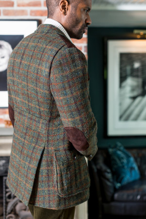 Green With Multicoloured Overchecks Shooting Jacket