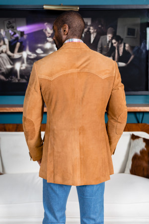 Med Brown Lamb Suede Western Jacket