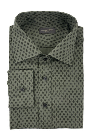 Army Green & Black Twill Flannel Casual Shirt