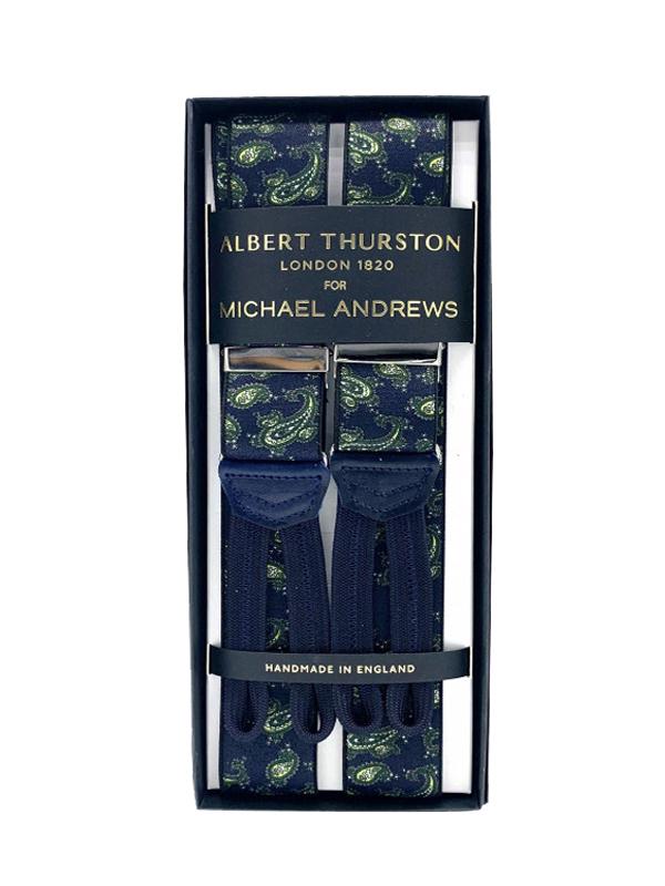 Blue Paisley Stretch Suspenders