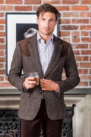 Brown Herringbone Western Jacket