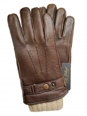 """3 in 1"" Dark Brown Deerskin & Wool Gloves"