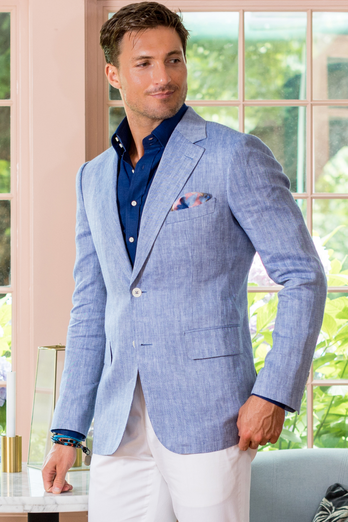 Blue & White Herringbone Sport Coat