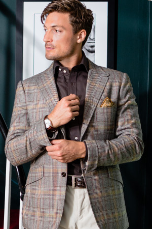 Light Brown Twill Prince Of Wales Sport Coat