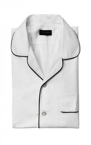 White Short Sleeve Pajama-Style Shirt