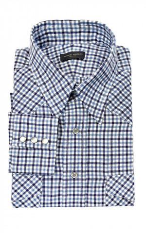 Navy & Med Blue Tattersall Linen Western Shirt