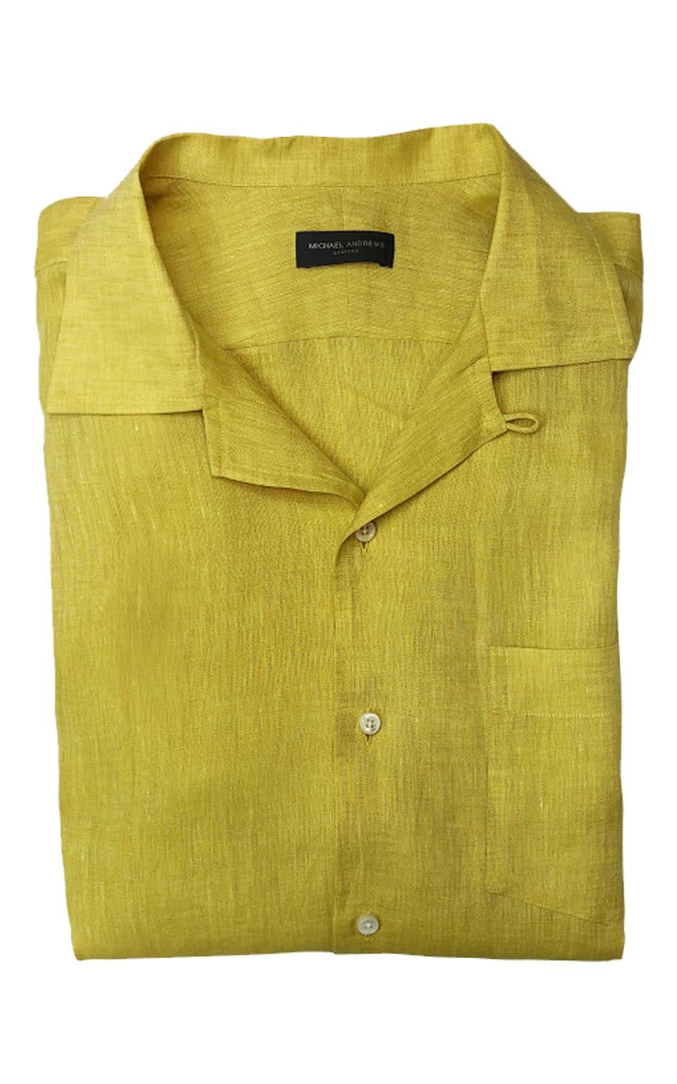 Mustard Yellow Linen Long Sleeve Camp Shirt