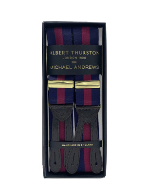 Navy & Red Awning Stripe Suspenders