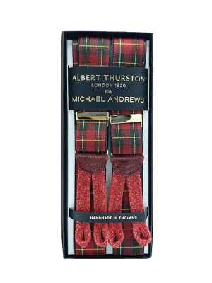 Red Plaid Stretch Suspenders