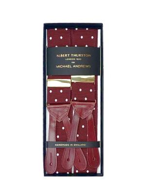 Burgundy Suspenders w/ White Dots
