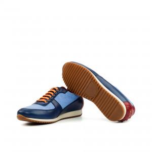 Two-Tone Blue Linen and Navy Calf Corsini Sneaker