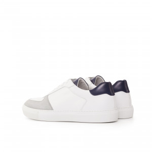 White & Grey Box Calf Low Top Trainers