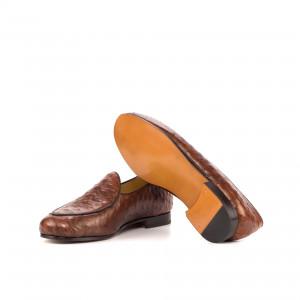 Medium Brown Ostrich Belgian Slipper