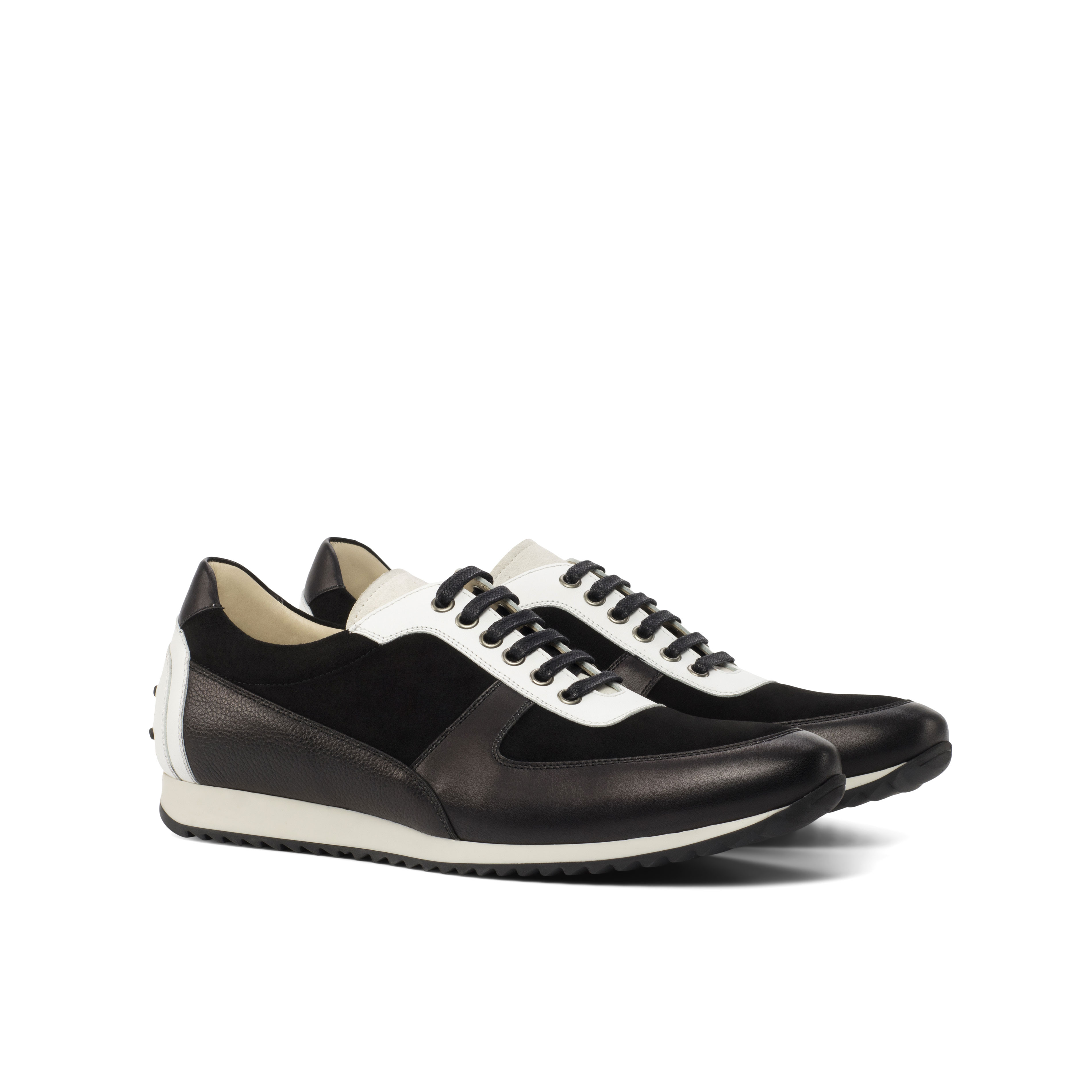 Black and White Box Calf Corsini Sneaker