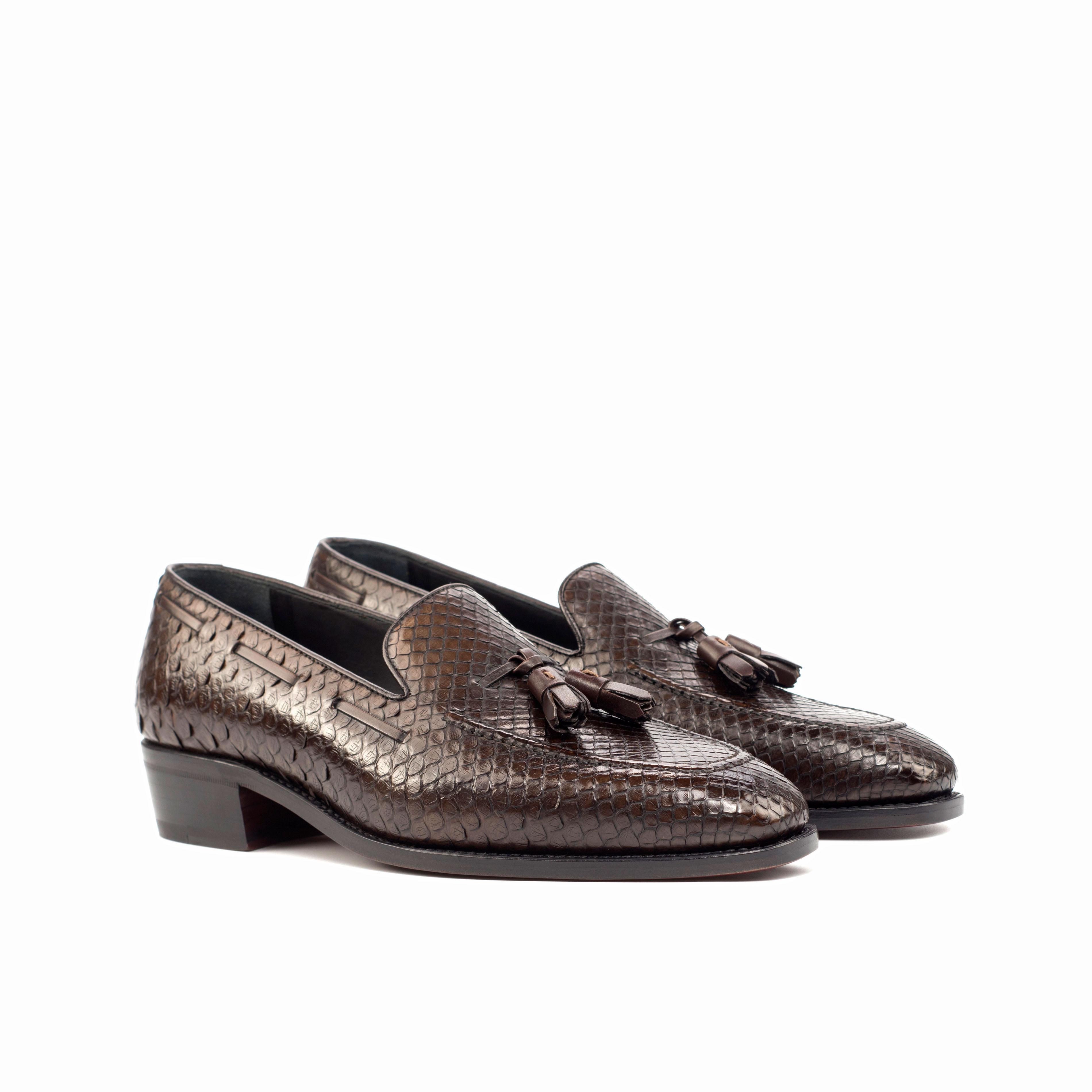 Dark Brown Python Loafer w/ Cuban Heel