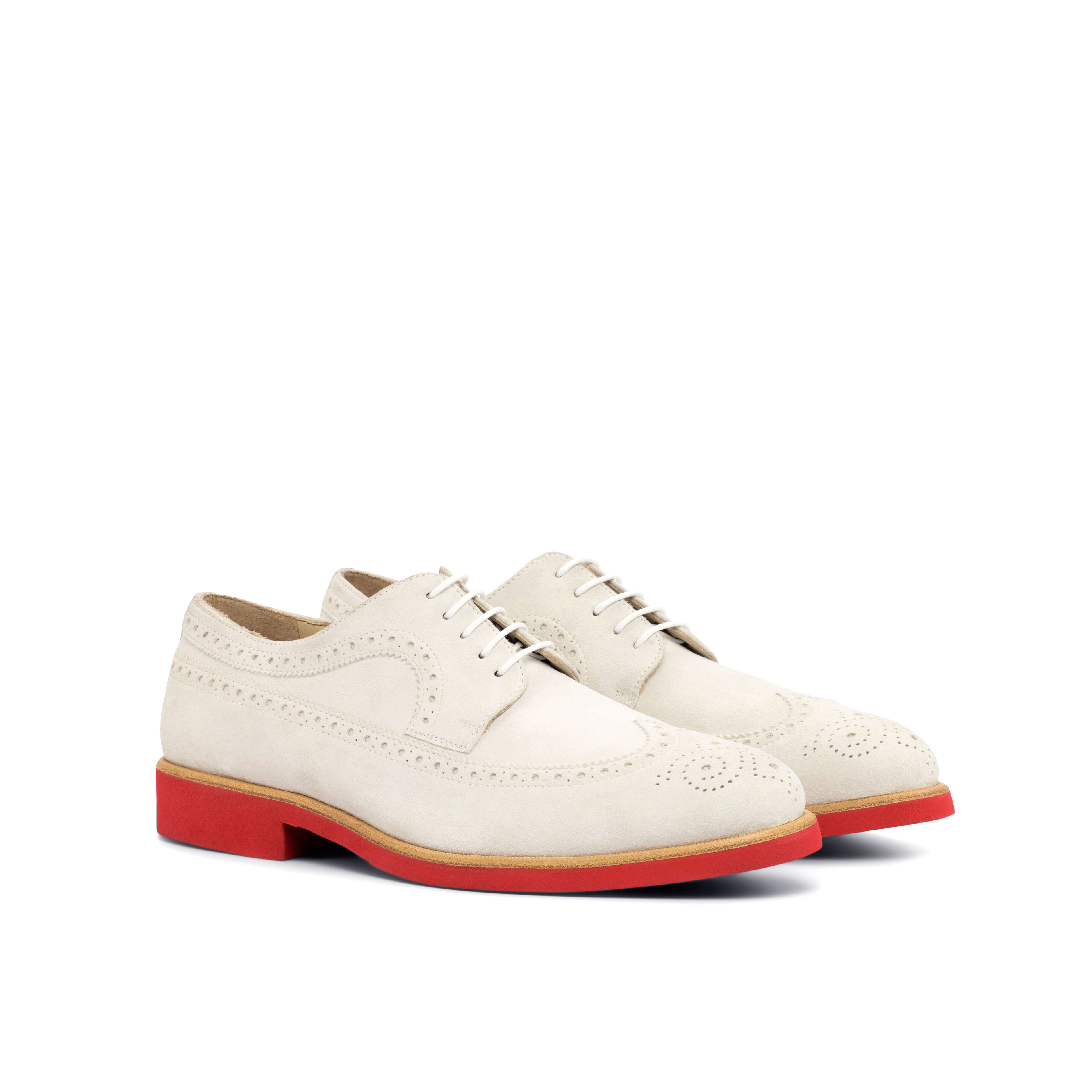 White Kid Suede Longwing Blucher