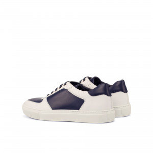 Navy & White Box Calf Low Top Trainer
