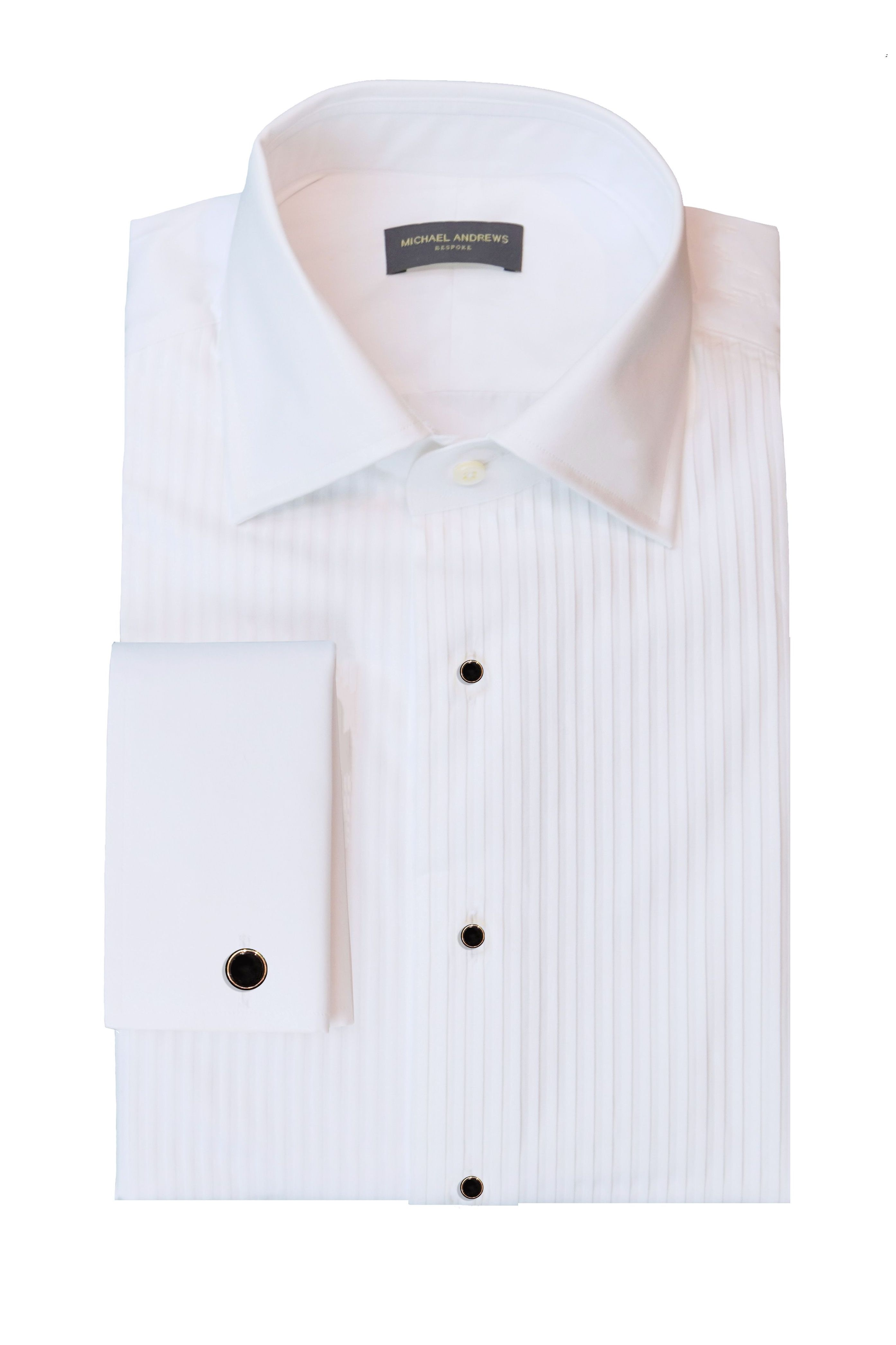 White Plisse Bib Front Tux Shirt