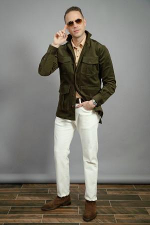 Hunter Green Stretch Corduroy Safari Shirt Jacket