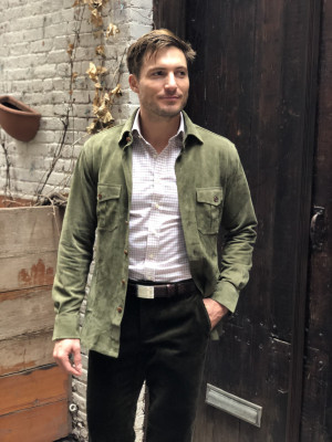 Olive Green Lamb Suede Overshirt
