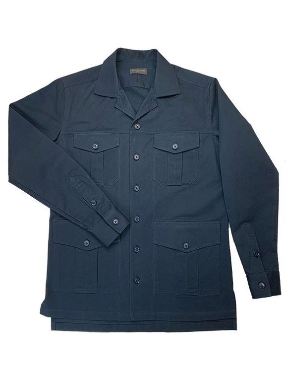 Navy Blue Heavy Duty Cotton Safari Shirt Jacket
