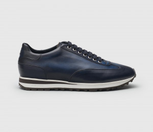 Trieste Navy Leather Sneakers for Men