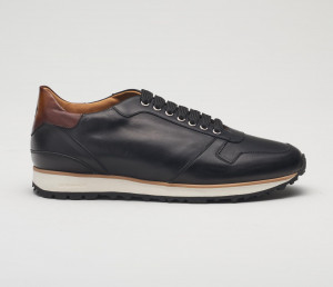 Roma Black Leather Sneakers