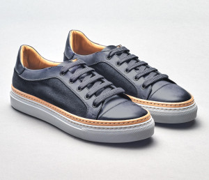 Messina Gunmetal Leather Sneakers for Men