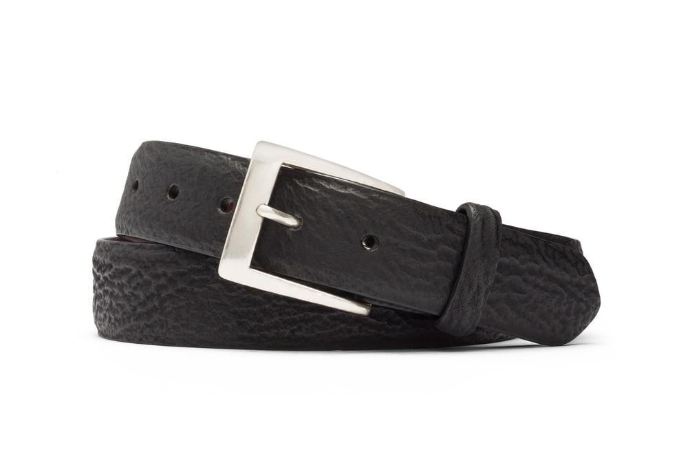 Black Shark Belt with Brushed Nickel Buckle