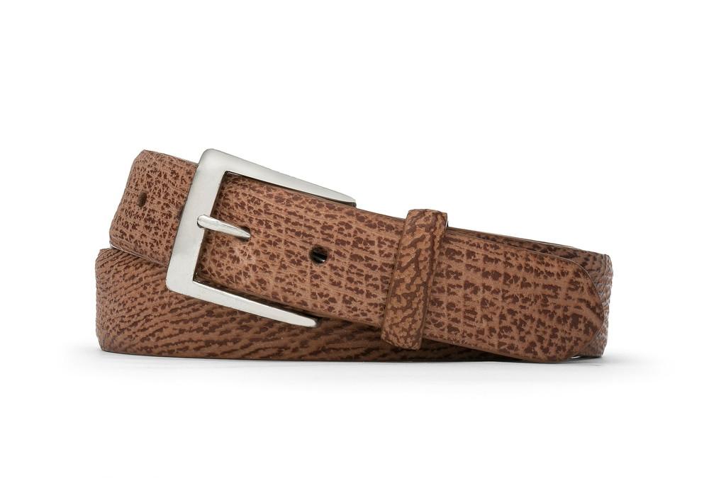 Cognac Shark Belt with Brushed Nickel Buckle