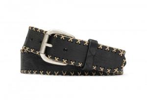 Black Bison Cross Stitch Belt with Antique Nickel Buckle
