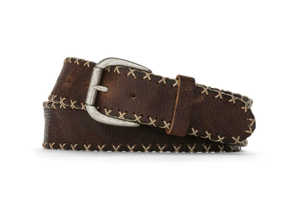 Chocolate Bison Cross Stitch Belt with Antique Nickel Buckle