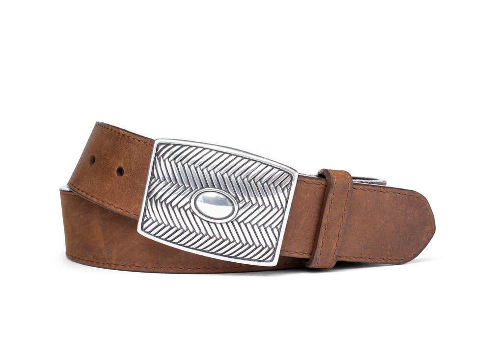 Brown Oiled Calf Belt with Antique Plaque Buckle