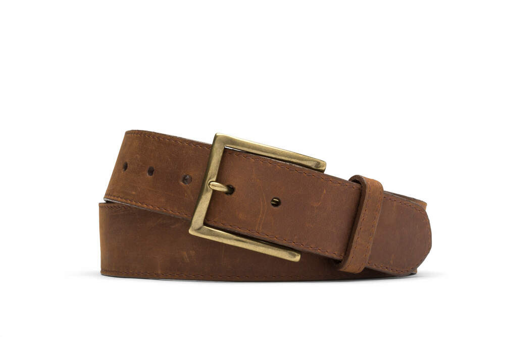 Brown Oiled Calf Belt with Brass Buckle