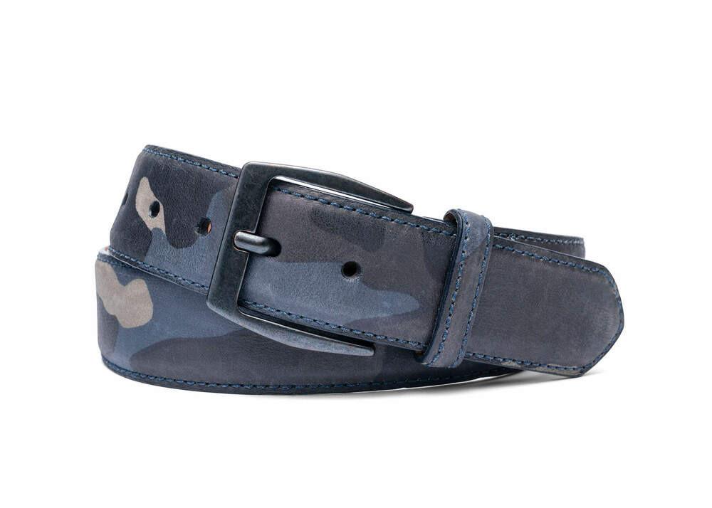 Navy Camo Leather Belt with Gunmetal Buckle