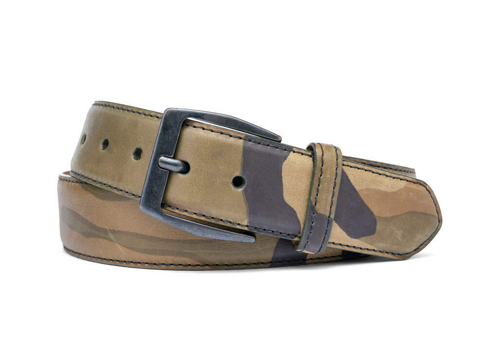 Tank Green Camo Leather Belt with Gunmetal Buckle
