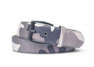 White Camo Leather Belt with Gunmetal Buckle